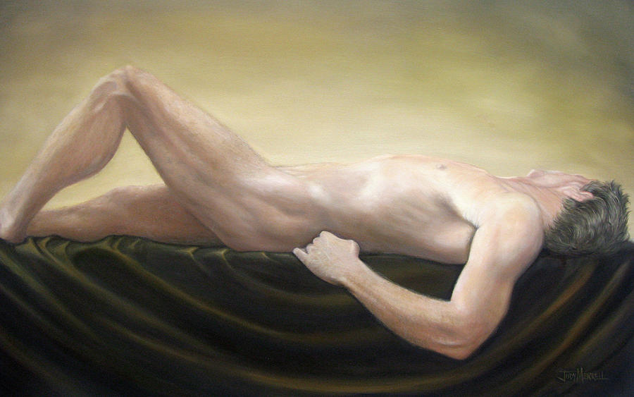 Nude Painting - Adonis by Judy Merrell