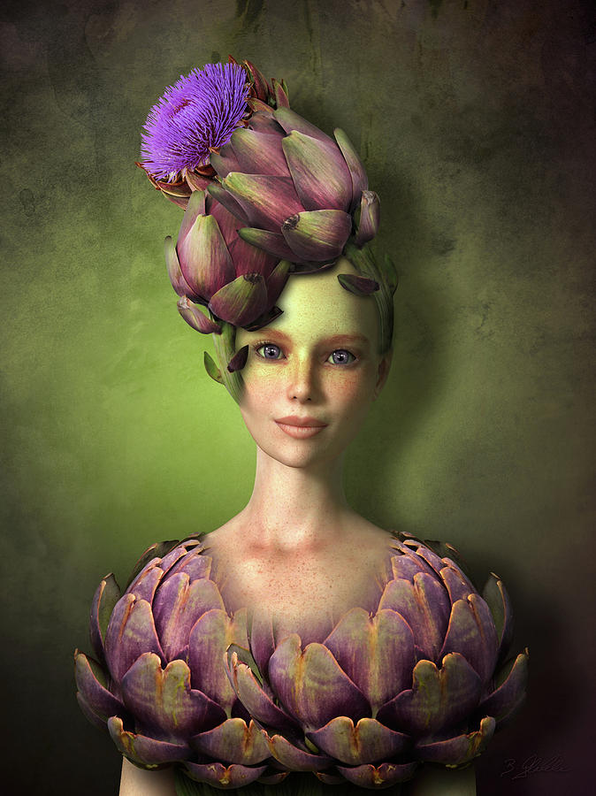 Artichoke Mixed Media - Adorable Artichoke by Britta Glodde