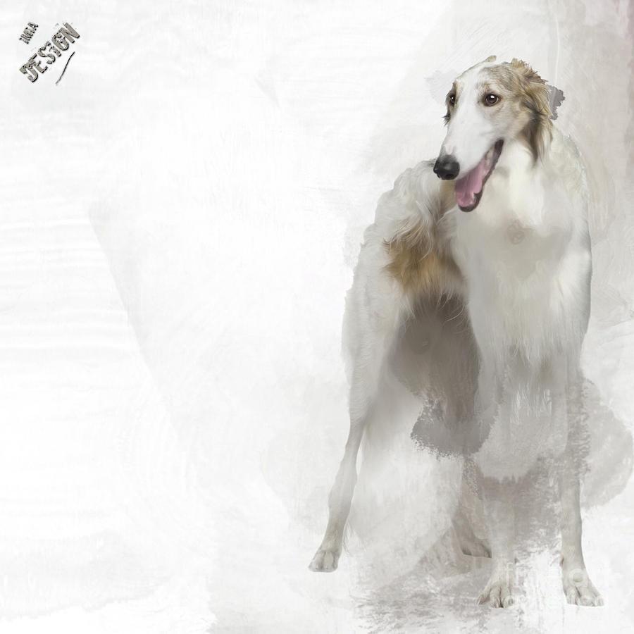 Borzoi Digital Art - Adorable Borzoi by Maria Astedt