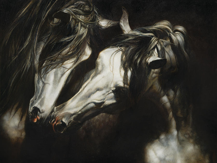 Horse Painting - Adoration by Heather Theurer