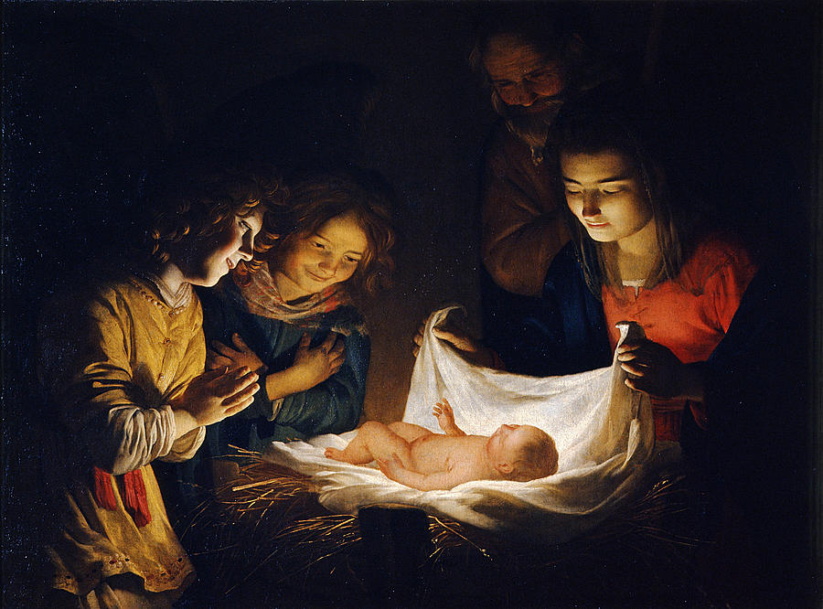 Gerrit Van Honthorst Painting - Adoration Of The Child by Gerrit van Honthorst