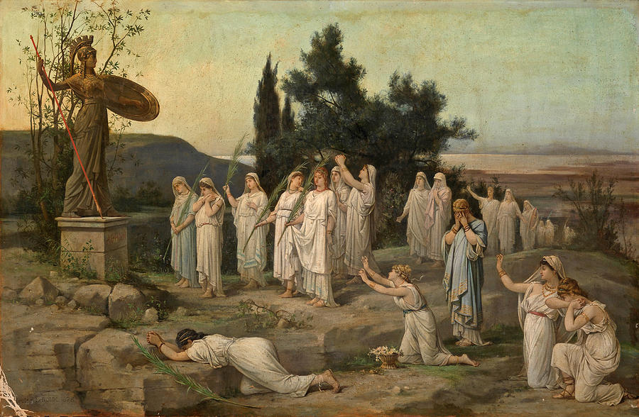 Leroux Painting - Adoration of the Goddess Pallas Athena by Louis Hector Leroux