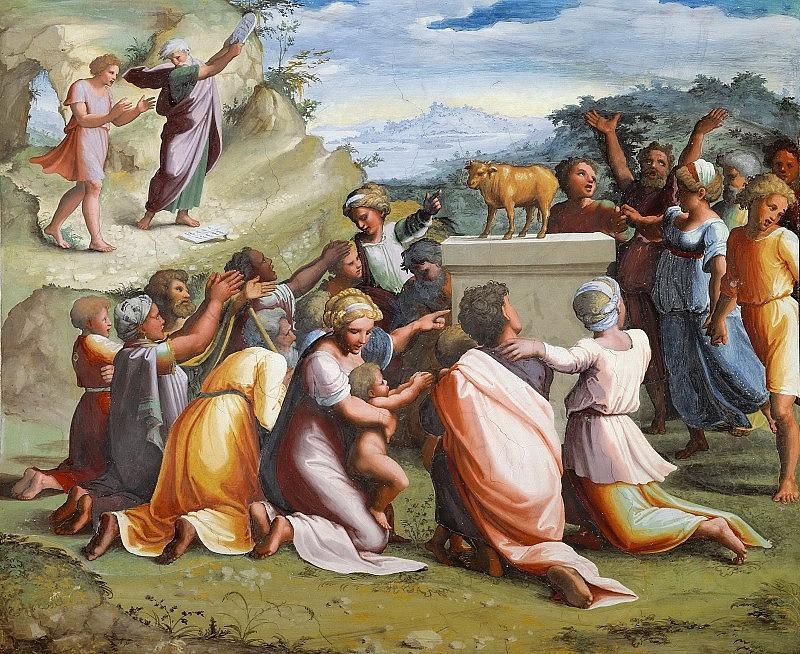 Fan Digital Art - Adoration of the Golden Calf Raffaello Sanzio da Urbino Raphael Raffaello Santi by Eloisa Mannion