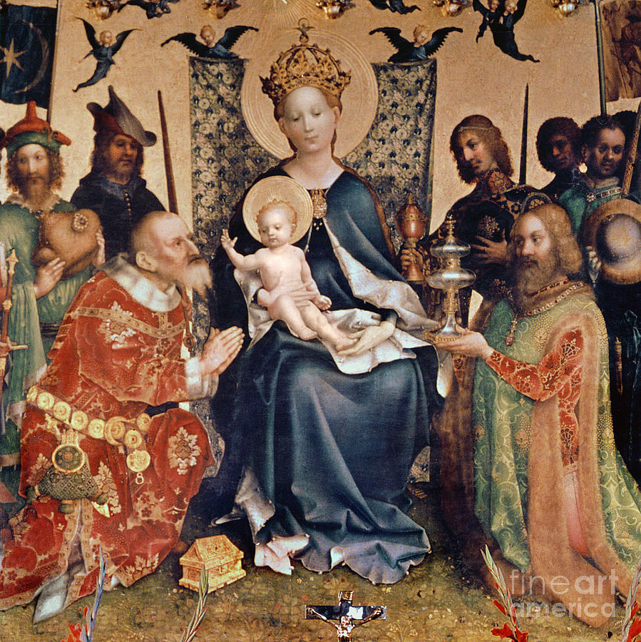 Adoration Painting - Adoration Of The Magi Altarpiece by Stephan Lochner
