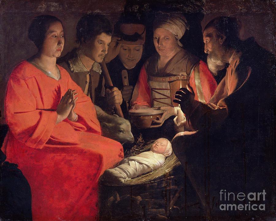 Adoration Painting - Adoration Of The Shepherds by Georges de la Tour