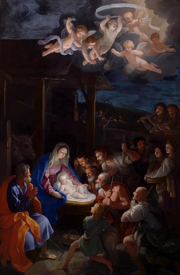 Guido Reni Painting - Adoration Of The Shepherds by Guido Reni