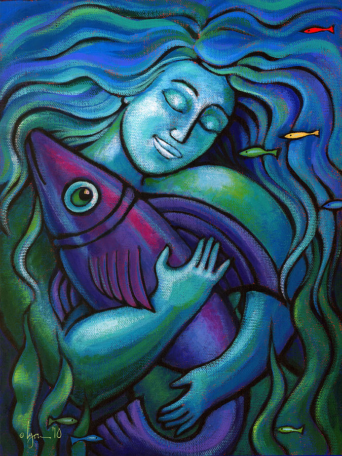 Fish Painting - Adoring My Dream by Angela Treat Lyon
