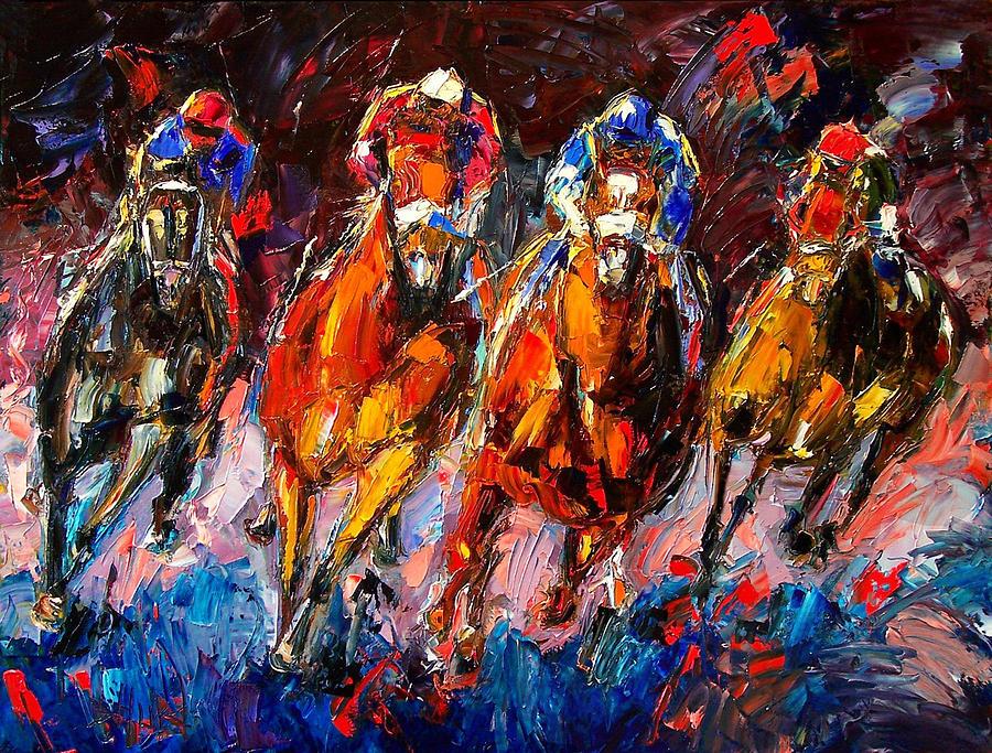 Horse Race Painting - Adrenaline by Debra Hurd