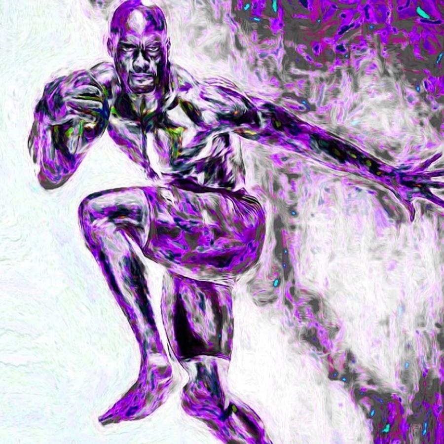 Painted Photograph - @adrian_peterson_fanpage by David Haskett II
