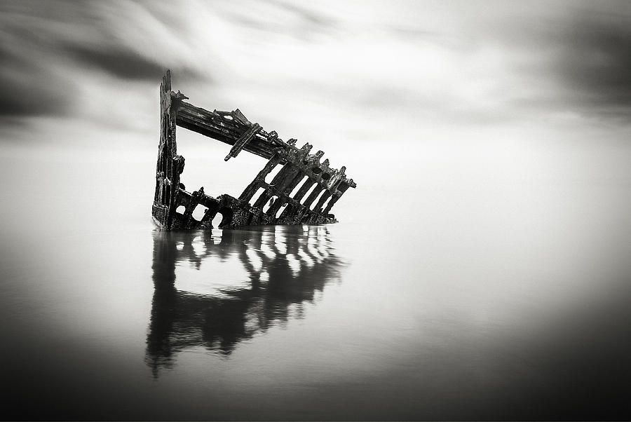 Antique Photograph - Adrift At Sea In Black And White by Eduard Moldoveanu