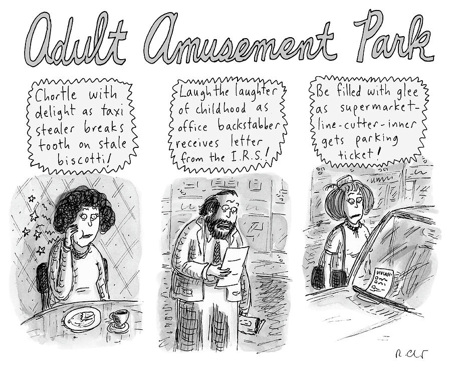 Adult Amusement Park Drawing by Roz Chast