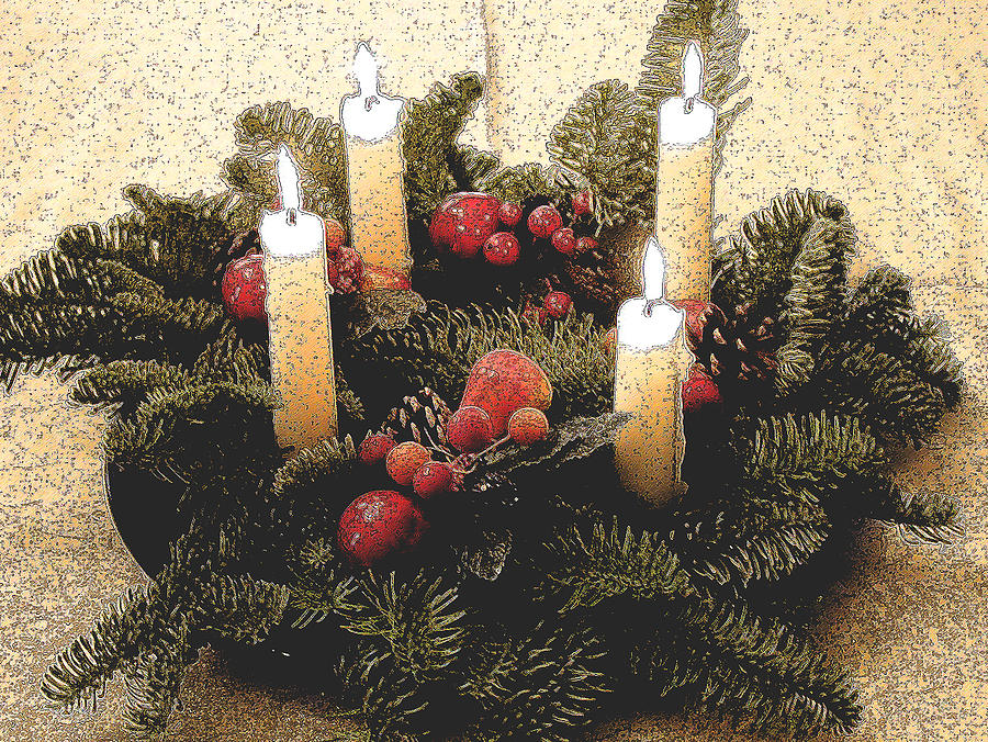 Christmas Decoration Painting - Advent Wreath by Mary Helmreich