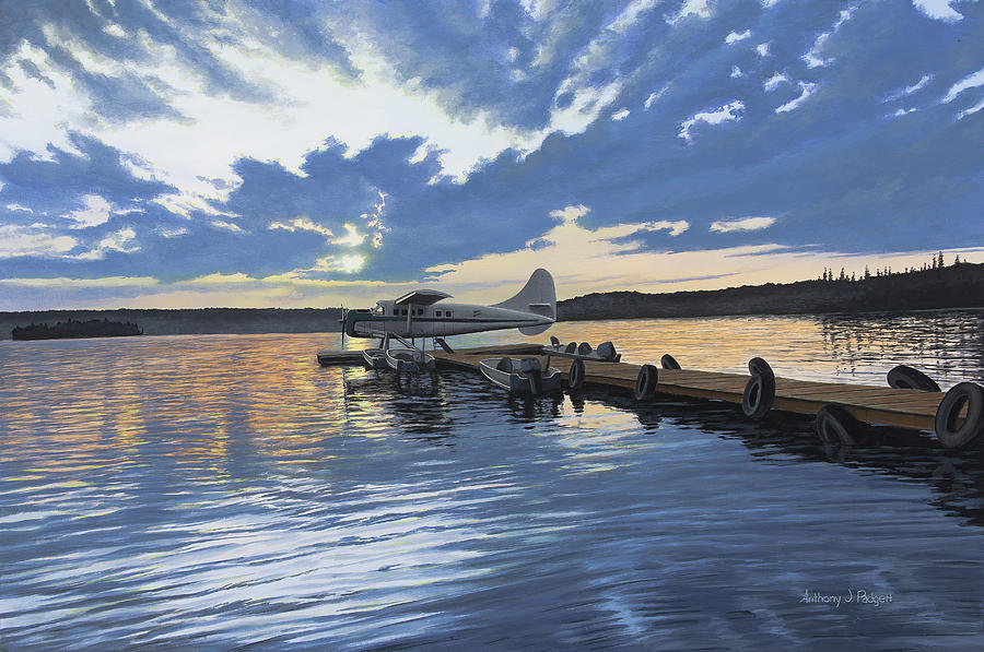 Plane Painting - Adventure Awaits by Anthony J Padgett