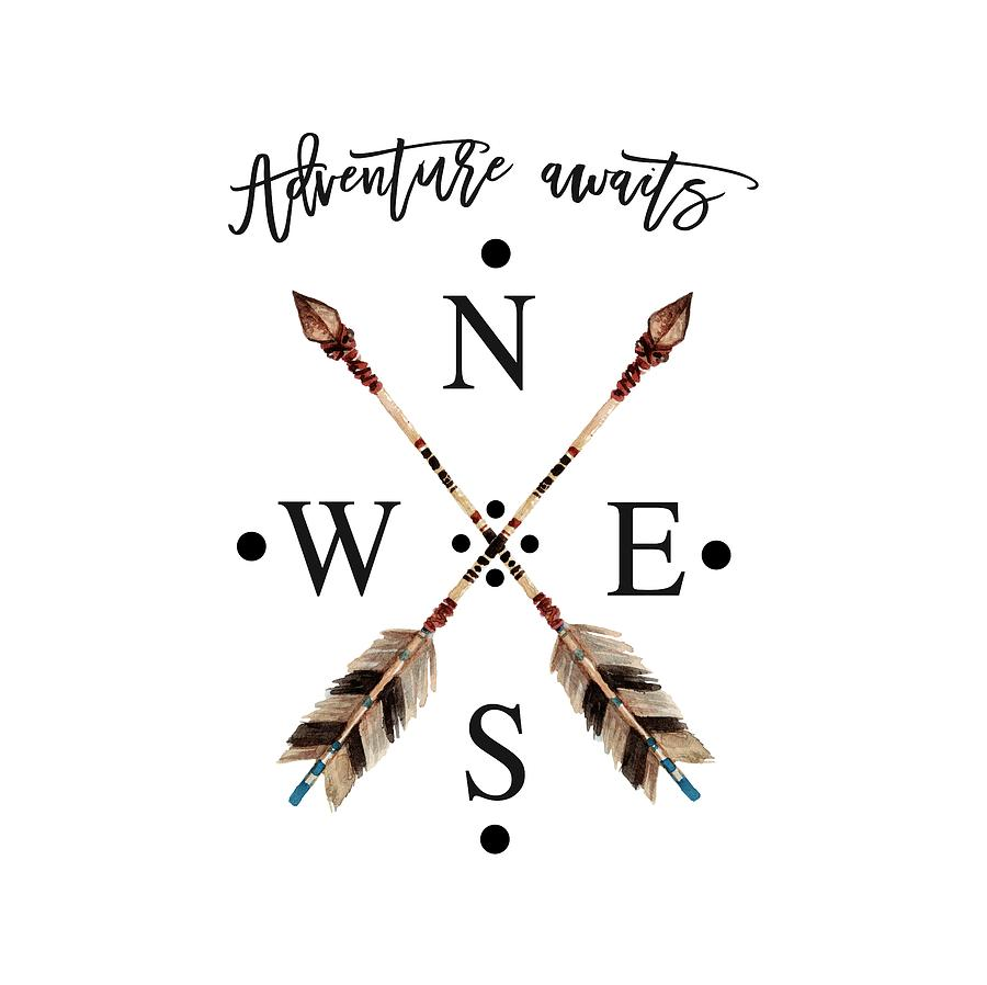 Adventure waits Typography Arrows Compass Cardinal Directions by Georgeta Blanaru