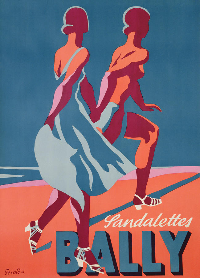 Blue Painting - Advertisement For Bally Sandals by Druck Gebr
