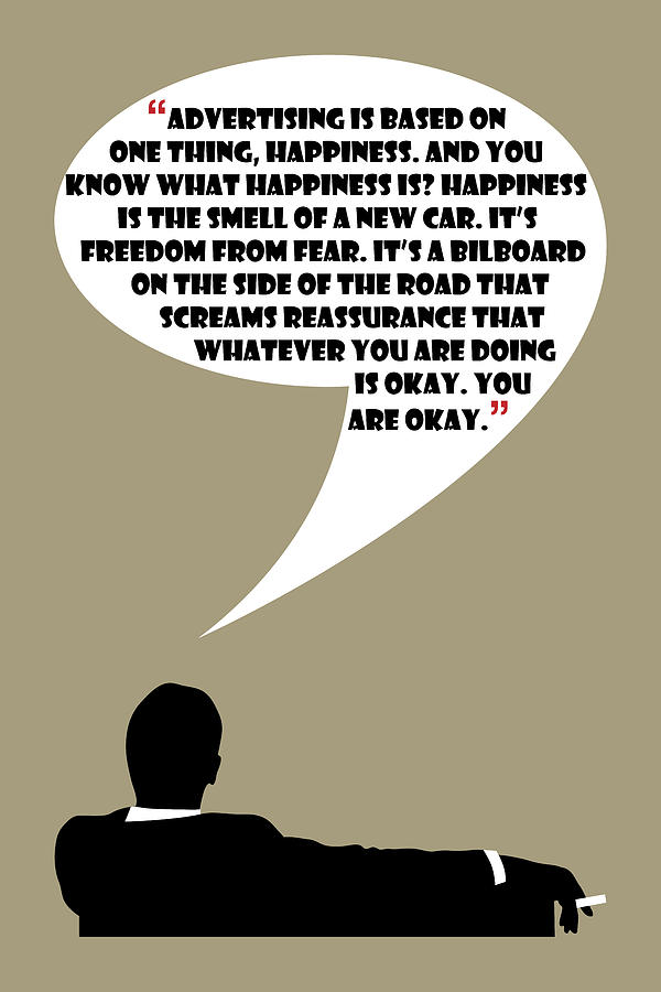 Advertising Is Happiness - Mad Men Poster Don Draper Quote Painting ...