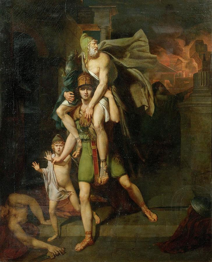 aeneas fleeing with his father painting by motionage designs