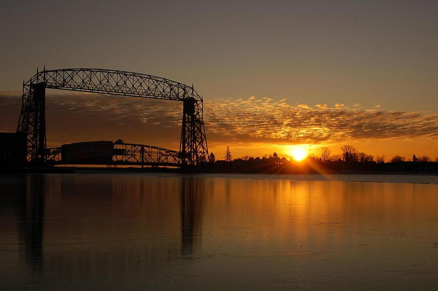 Bridge Photograph - Aerial Bridge In Sunrise by Evia Nugrahani Koos