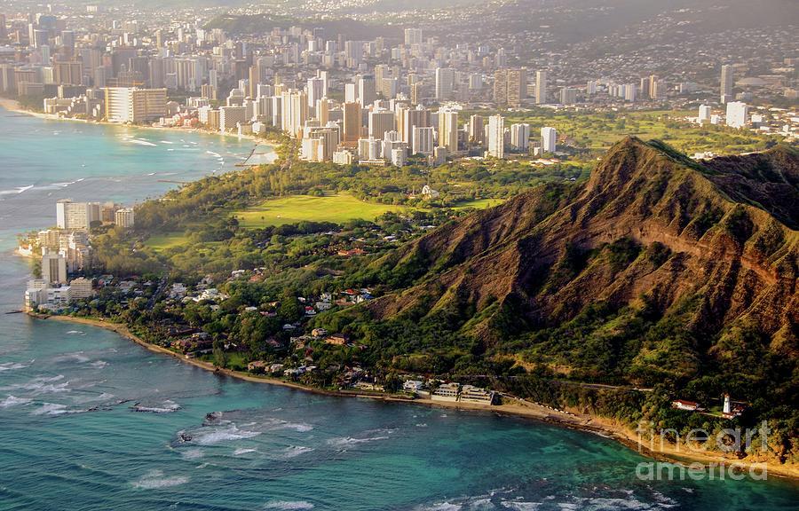 Aerial - Diamond Head Crater - City of Honolulu, Waikiki, Hawaii  by D Davila