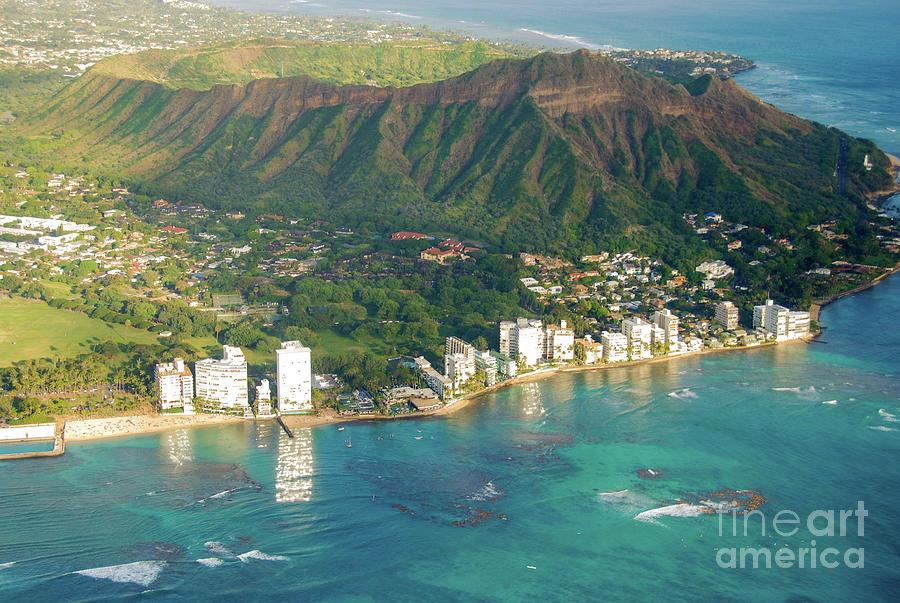 Aerial Photograph - Aerial - Diamond Head Crater, Honolulu, Hawaii 934 by D Davila