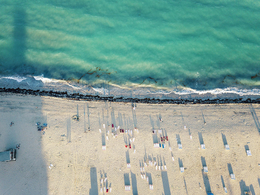Miami Photograph - Aerial Miami Beach Sunset by Lorrie Joaus