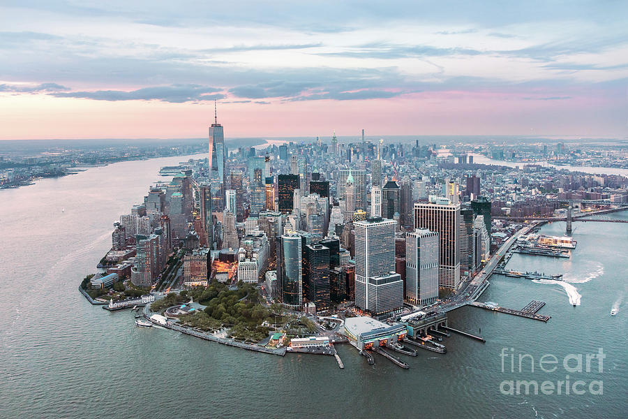New York City Photograph - Aerial Of Lower Manhattan Peninsula At Sunset, New York, Usa by Matteo Colombo