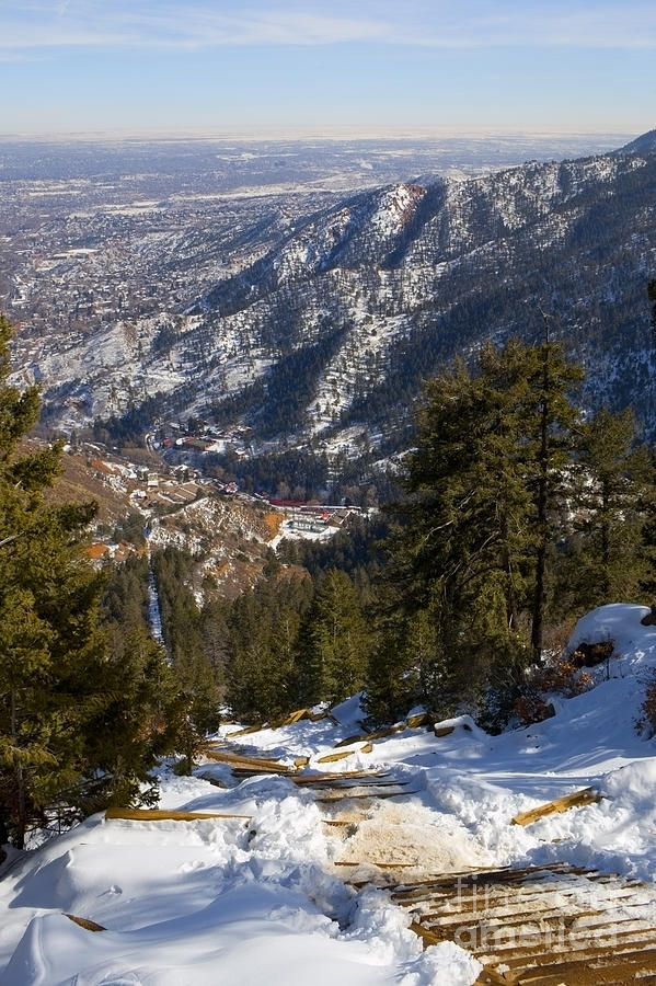 Aerial Of The Manitou Incline In Wintertime Photograph