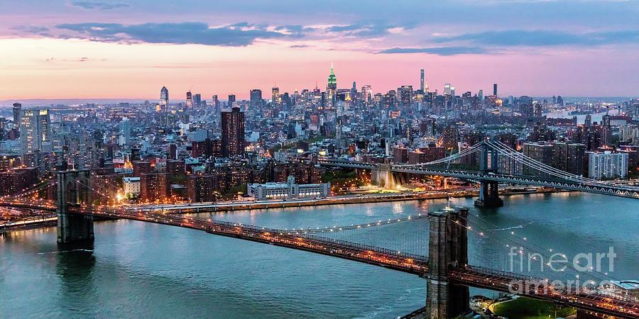 Brooklyn Bridge Photograph - Aerial Panoramic Of Midtown Manhattan At Dusk, New York City, Us by Matteo Colombo