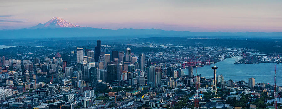 Aerial Photograph - Aerial Seattle Puget Sound At Dusk by Mike Reid