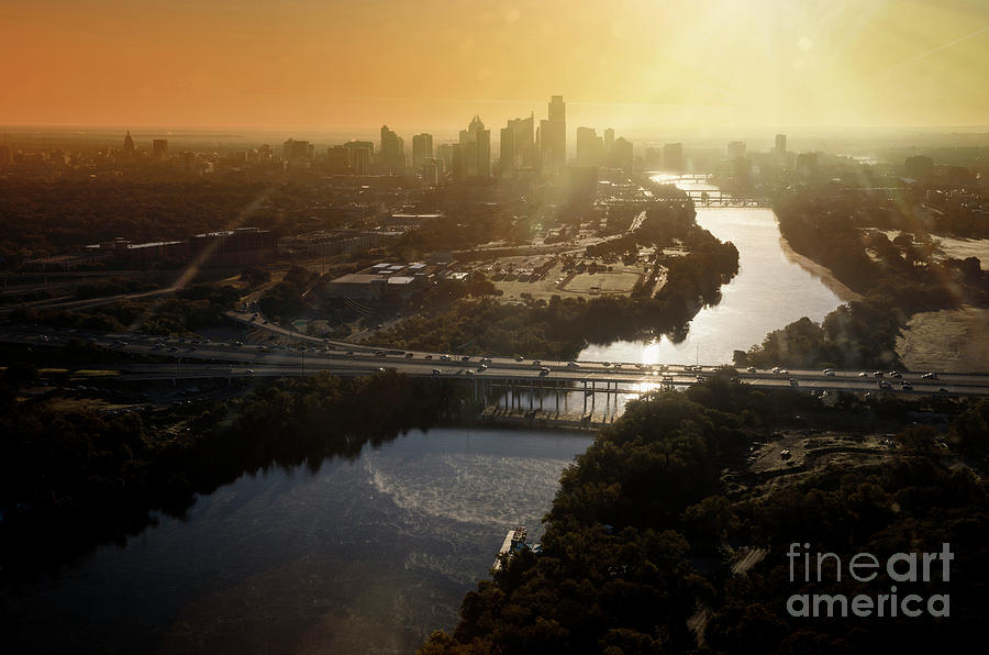 Aerial Sunrise View From A Helicopter Of The Downtown Austin Sky by Austin  Skylines