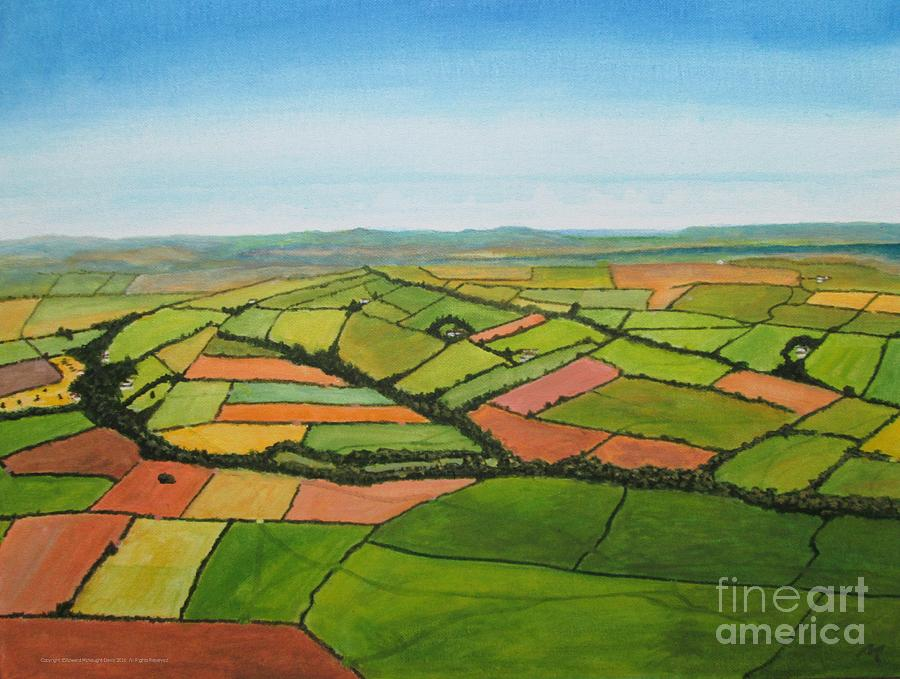 Aerial View Art Haverfordwest Pembrokeshire Painting by Edward McNaught-Davis