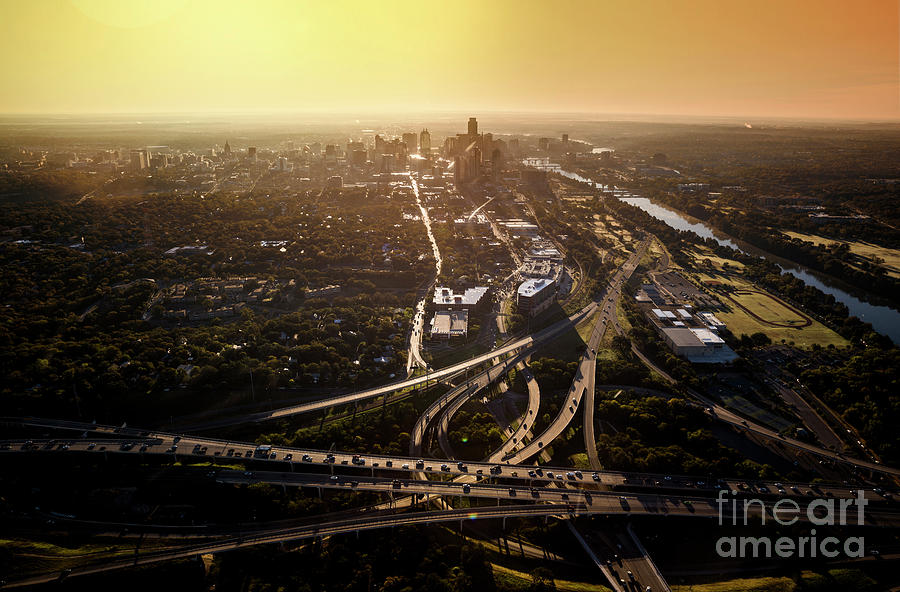 Austin Skyline Photograph - Aerial View From A Helicopter Of The Downtown Austin Skyline And Mopac Highway Interchange During Morning Rush Hour Traffic by Herronstock Prints