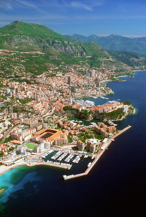Vertical Photograph - Aerial View Of A City, Monte Carlo, Monaco, France by Medioimages/Photodisc