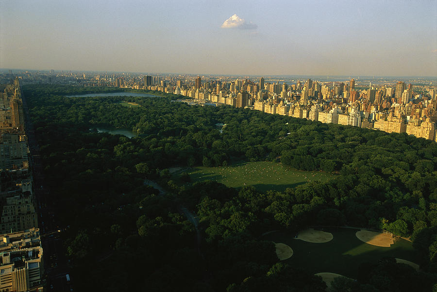 Central Park Photograph - Aerial View Of Central Park, An Oasis by Melissa Farlow