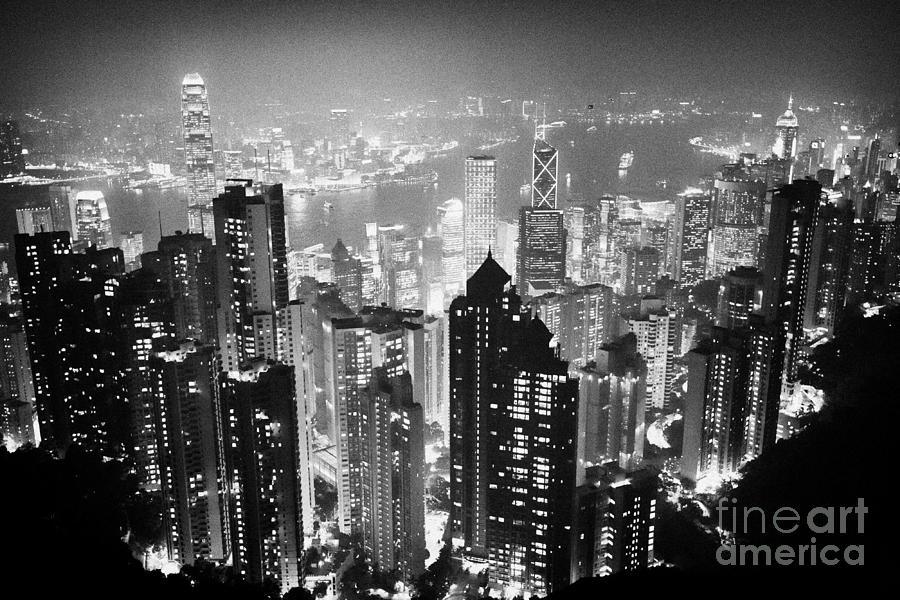 Aerial Photograph - Aerial View Of Hong Kong Island At Night From The Peak Hksar China by Joe Fox