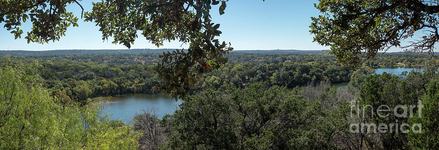 Hill Country Photograph - Aerial View Of Large Forest And Lake by PorqueNo Studios