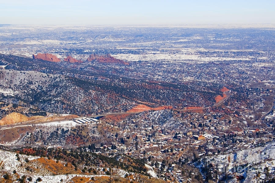 Aerial View Of Manitou And Colorado Springs Photograph