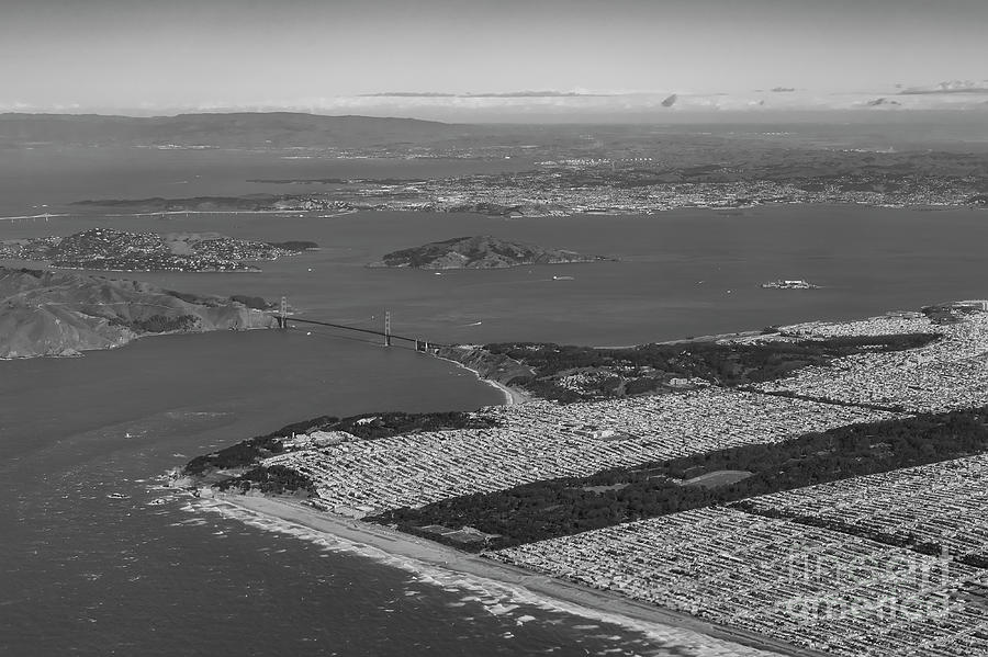 Golden Gate Bridge Photograph - Aerial View Of San Francisco Downtown Cityscape by Chon Kit Leong