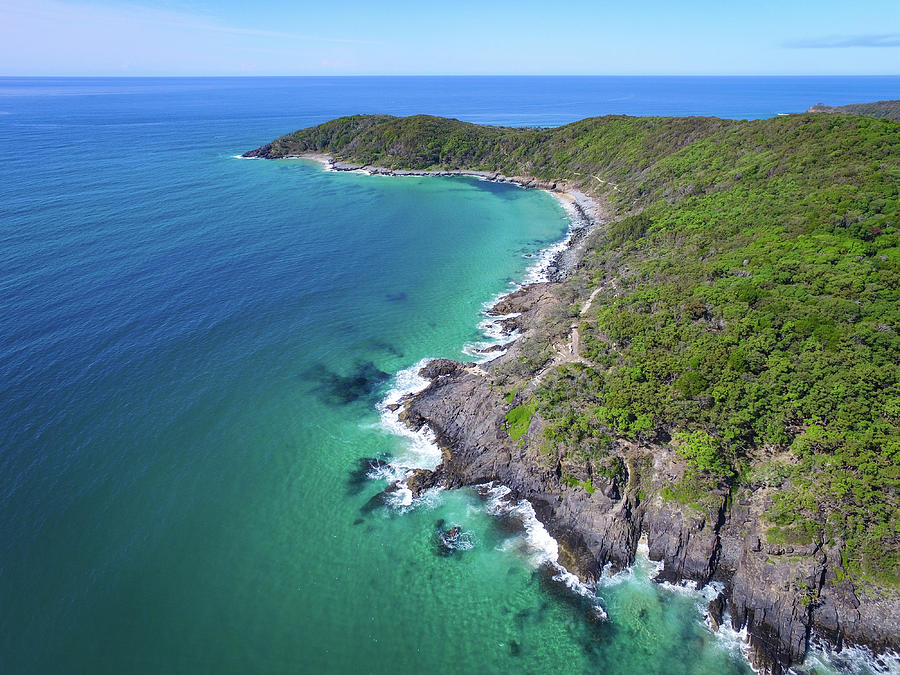 Aerial view of the coastline in Noosa National Park by Keiran Lusk