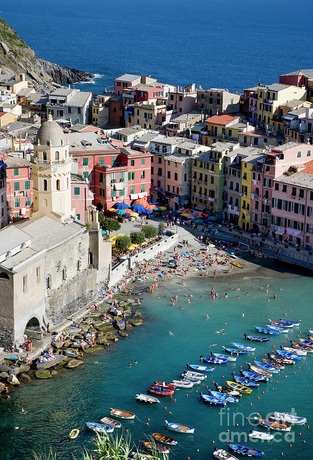 Italy Photograph - Aerial View Of Vernazza, Cinque Terre, Liguria, Italy by Damian Davies