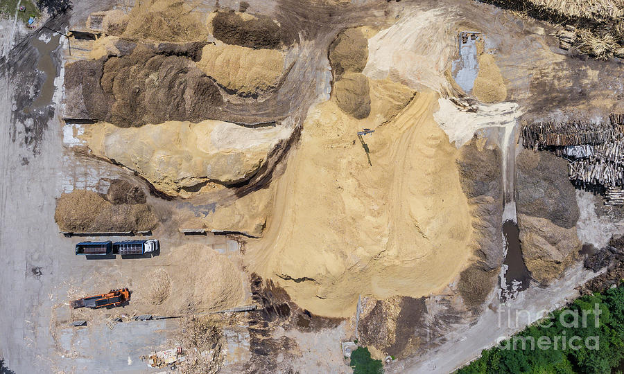 Above Photograph - Aerial View Over The Sandpit. Industrial Place In Poland. by Mariusz Prusaczyk