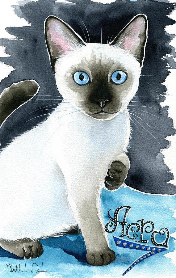 Aero Siamese Seal Point Kitten Painting Painting By Dora Hathazi