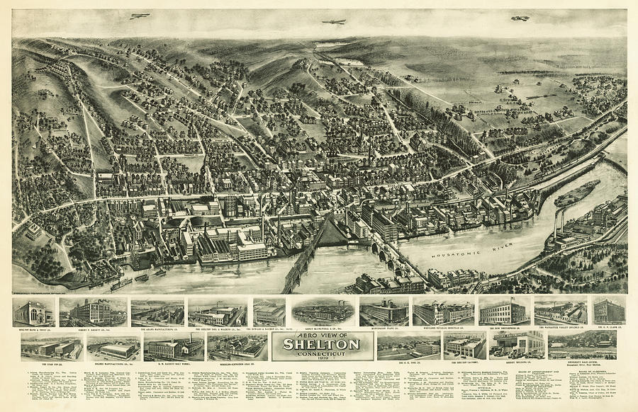 1918 Mixed Media - Aero View Of Watertown, Connecticut  by Bailey