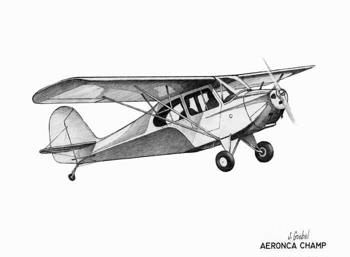 Aeronca Champion Drawing by Mike  Goebel