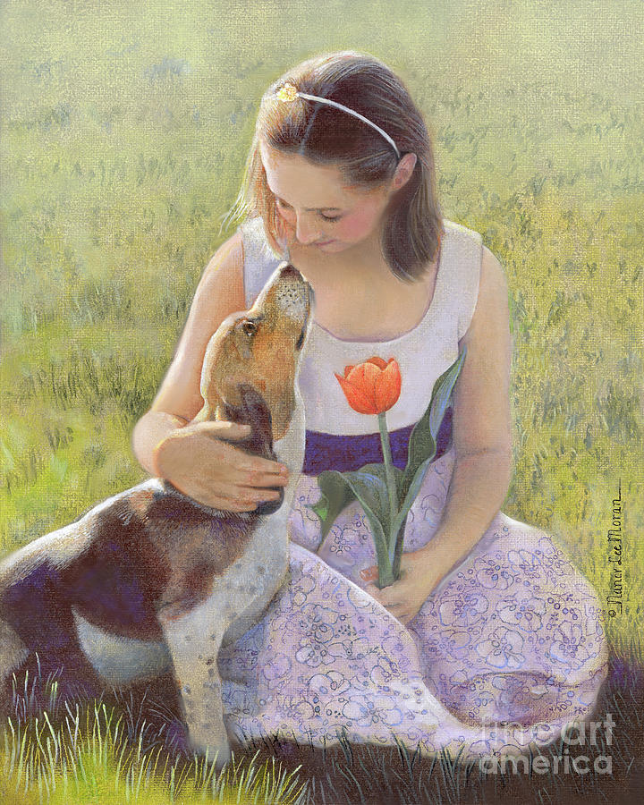 Girl Portrait Painting - Affection by Nancy Lee Moran