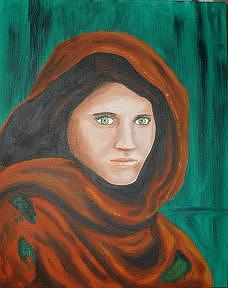 Afgan Girl Painting by Cyndee Bessant