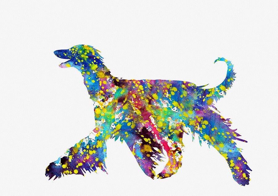 Afghan Hound-colorful Digital Art by Erzebet S