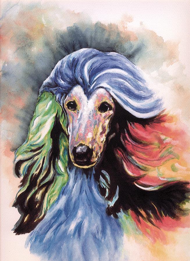 Afghan Hound Painting - Afghan Storm by Kathleen Sepulveda