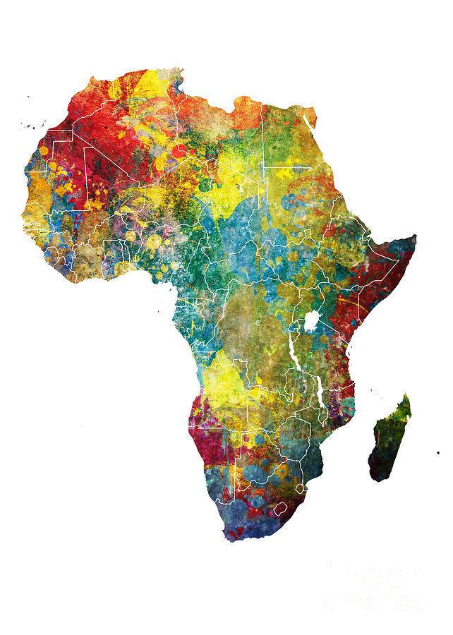 Africa Digital Art - Africa Map dangerous by Justyna Jaszke JBJart
