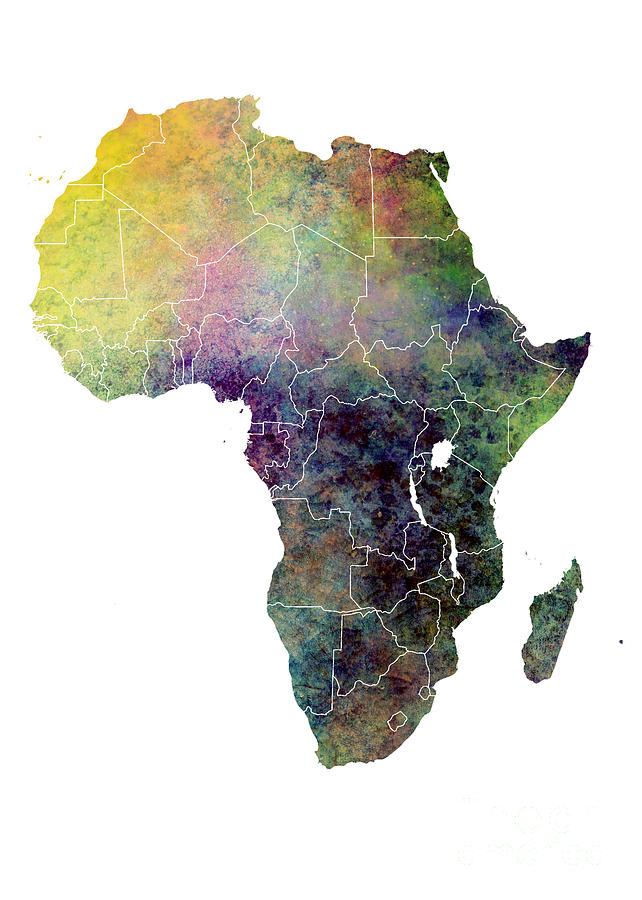 Africa Digital Art - Africa map ecology by Justyna Jaszke JBJart